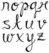 Script alphabet in doodle style — Stock Vector