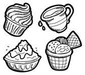 Set of dessert in doodle style — Stock Vector