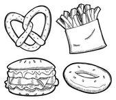 Set of snack illustration — Stock Vector