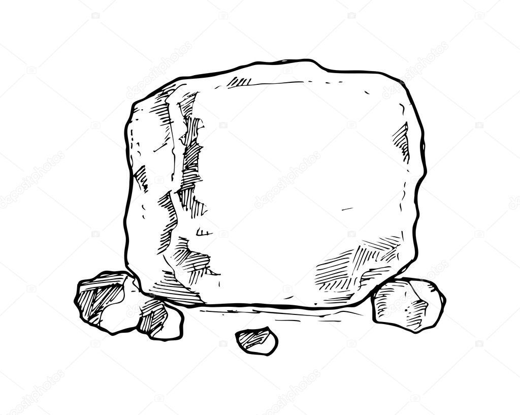 手绘景观石头线稿