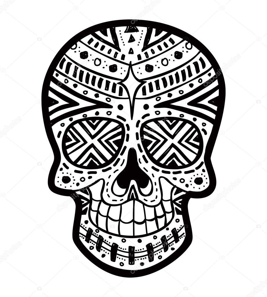 Black And White Sugar Skull Designs Sugar Skull Isolated on White