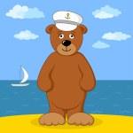 Teddy bear captain on sea coast — Stock Photo