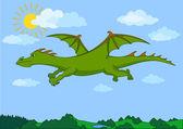 Green fairy dragon flies in the blue sky — Stock Vector