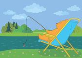 Orsacchiotto, pesca nel fiume della foresta — Foto Stock