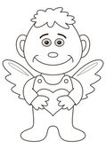 Boy angel with valentine heart, outline — Stock Photo