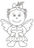 Girl angel with valentine heart, outline — Stock Photo