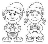 Christmas elves, boy and girl, outline — Stock Vector