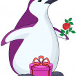 Penguin with gift and rose — Stock Photo