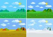 Set forest landscapes, seasons — Stock Photo