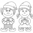 Stock Photo: Christmas elves, boy and girl