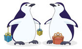 Antarctic penguins with gift boxes — Stock Vector