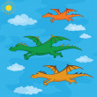 Stock Photo: Dragons flies in the blue sky
