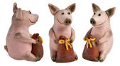 Toy pigs with a bags of money — Stock Photo