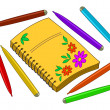 Notebook with flowers and felt-tip pens — Stockfoto