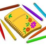 Notebook mit Blumen und Filzstifte — Stockfoto