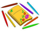 Notebook with flowers and felt-tip pens — Stock Photo