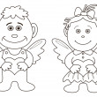 Girl and boy angels with hearts, contours — Stock Photo