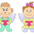 Girl and boy angels with hearts — Stock Photo