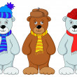 Teddy bears in winter costume — Stock Photo