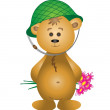 Royalty-Free Stock Photo: Teddy-bear in a helmet with a bouquet