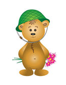 Teddy-bear in a helmet with a bouquet — Stock Photo