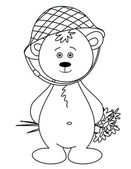 Teddy-bear in a helmet with a bouquet, contours — Stock Photo