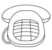 Phone desktop push-button, contour — Stock Photo
