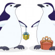 Antarctic penguins with gift boxes — Stock Photo
