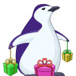Penguin with gift boxes — Stock Photo