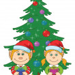 Christmas elves and fir tree — Stock Photo
