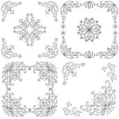 Set abstract floral backgrounds, outline — Stock Vector