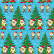 Seamless Christmas background, babies and tree — 图库照片