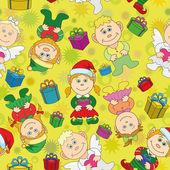 Seamless Christmas background, boys and girls — Stock Photo