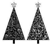 Weihnachtsbäume, silhouette mit muster — Stockvektor