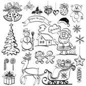Christmas elements, black silhouettes — Stock Vector