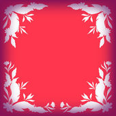 Silhouette leaves, flowers and feathers on red — Stock Vector