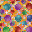 Seamless Christmas background, balls and boxes - Stock Photo