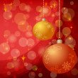 Christmas background with balls and stars - Stock fotografie