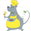 Rat waiter with sausage in yello — Stock Photo