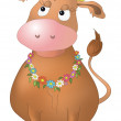 Cow with flowers — Stock Photo