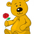 Teddy bear with a rose flower — Stock Photo