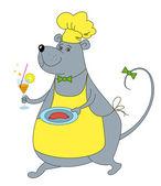 Rat servitör med korv i yello — Stockfoto