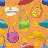 Seamless background, handbags and hats — Stock Vector