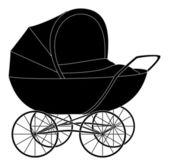 Baby pram, black silhouette — Stock Vector