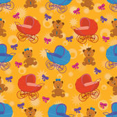 Seamless background, bears and prams — Stock Vector