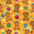 Stock Photo: Seamless background, bears and gifts