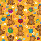 Seamless background, bears and gifts — Stock Photo