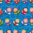 Seamless, dolls and floral pattern — Stockvektor