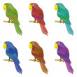 Parrots on a pole, set — Stock Photo