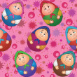 Seamless, dolls and abstract pattern — 图库照片